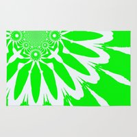 lime green Area & Throw Rugs featuring Lime Green Modern Flower by 2sweet4words Designs
