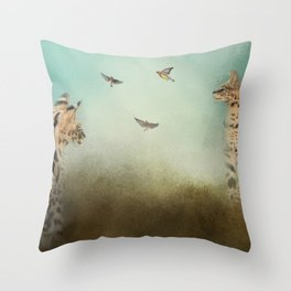 Watching the Waxwings Throw Pillow