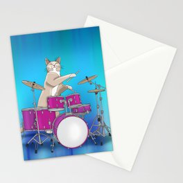 Cat Playing Drums - Blue Stationery Cards