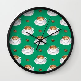 Coffee cups - green Wall Clock