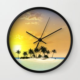 Island in the sunset Wall Clock