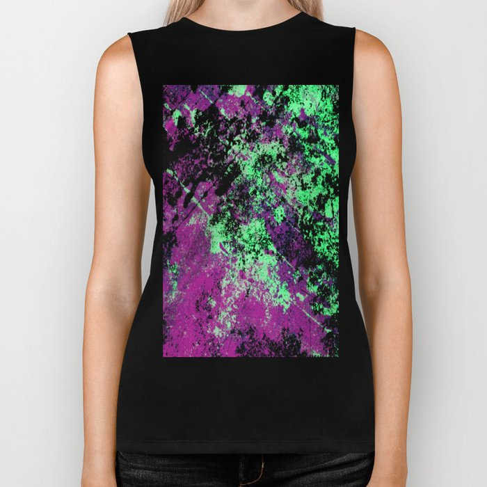 Colour Interaction II - Abstract purple, green and black textured, mixed media art Biker Tank