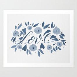 Love and flowers - grey Art Print
