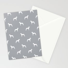 Great Dane dog breed pattern minimal simple grey and white great danes silhouette Stationery Cards