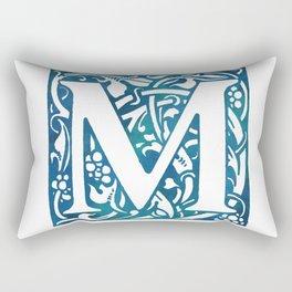 Letter M Antique Floral Letterpress Rectangular Pillow