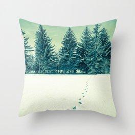 First Tracks On Fresh Snow Throw Pillow