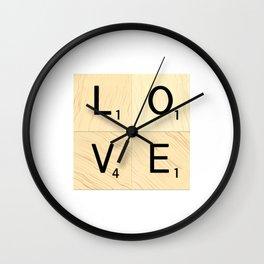 LOVE - Scrabble Letter Tiles Art Wall Clock