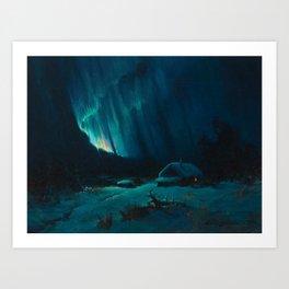 Northern Lights - Aurora Borealis Snowy Night Winter Scene by Sydney Lawrence Art Print