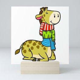 Chilly Giraffe Mini Art Print