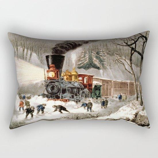 Snow Bound: Vintage Railroad Scene Rectangular Pillow
