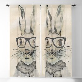 Cute funny watercolor bunny with glasses and scarf hand paint Blackout Curtain