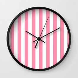 Narrow Vertical Stripes - White and Flamingo Pink Wall Clock