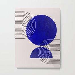 Indigo Blue Abstract Geometrical Composition Metal Print