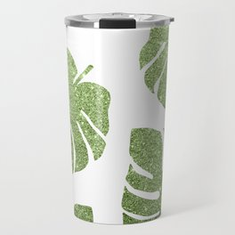 Glitter Monstera Leaves Travel Mug