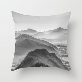 Balloon ride over the alps 3 Throw Pillow