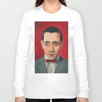 pee wee Long Sleeve T-shirts featuring Pee-Wee Herman, A portrait by Jen Holland AKA nerdifer