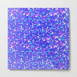 Abstract Elegant Pink Blue Geometrical Stars Metal Print