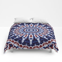 Mandala Fractal in Red White and Blue 02 Comforters