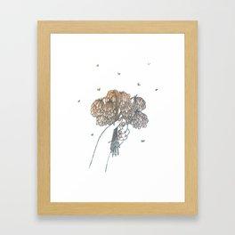 Hand Holding Dead Flowers Framed Art Print