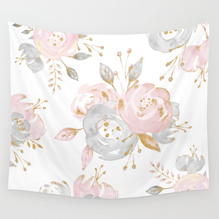 Roses Gold Glitter Pink by Nature Magick Wall Tapestry