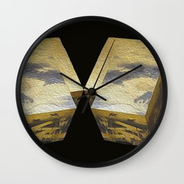 Abstract 3 D photography, black gold Wall Clock