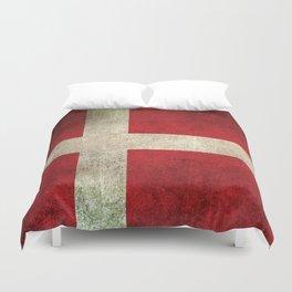 Old and Worn Distressed Vintage Flag of Denmark Duvet Cover