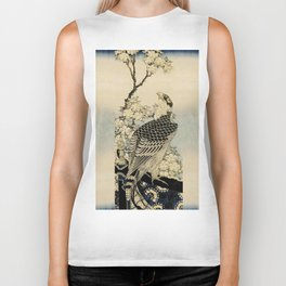 Hokusai -falcon next to a plum tree in bloom - 葛飾 北斎,hawk,bird. Biker Tank