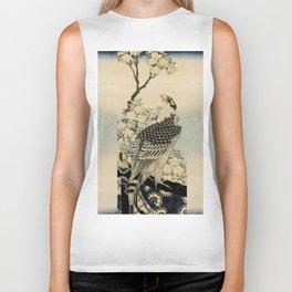 Hokusai -falcon next to a plum tree in bloom - 葛飾 北斎,hawk,bird. Biker Tank