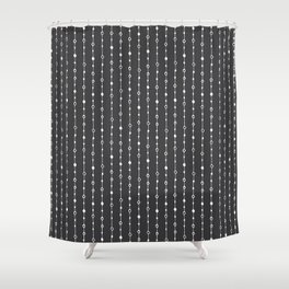 Lines, Dots and Circles - Hand Drawn Illustration, Abstract Pattern Shower Curtain