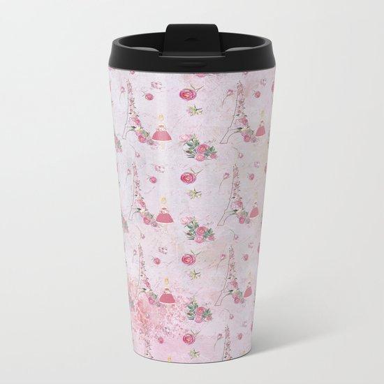 Pink Valentine Eiffeltower Girl and rose flower pattern Metal Travel Mug