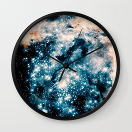 Nebula Galaxy Teal Peach Wall Clock