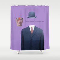 scott pilgrim Shower Curtains featuring The Pilgrim - a space oddity. by Sumo in the rain