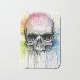 Skull Rainbow Watercolor Painting Skulls Bath Mat