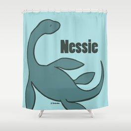 Nessie - The Loch Ness Monster (blue) Shower Curtain