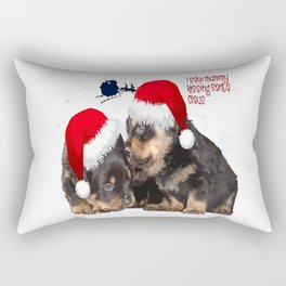Puppy White Christmas I Saw Mummy Kissing Santa Claus Rectangular Pillow