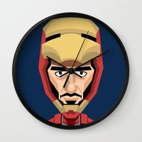 robert downey jr Wall Clocks featuring Robert Downey Jr, vector caricature by Kaexi