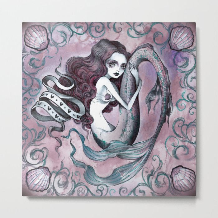Mermaid hearts (pink and teal) Metal Print