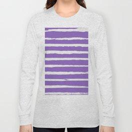 Irregular Hand Painted Stripes Purple Long Sleeve T-shirt