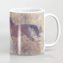 brown horse running in the fields Coffee Mug