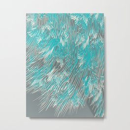 feathered lines in teal Metal Print