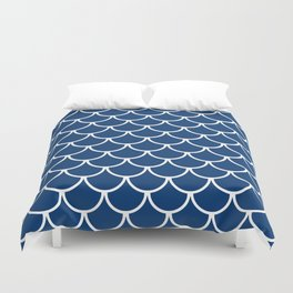 Navy Blue Fish Scales Pattern Duvet Cover