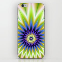 Green and Blue Floral Explosion iPhone Skin