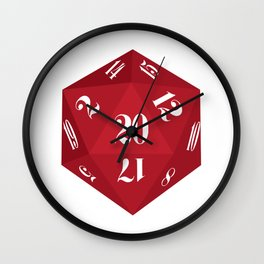 Red 20-Sided Dice Wall Clock