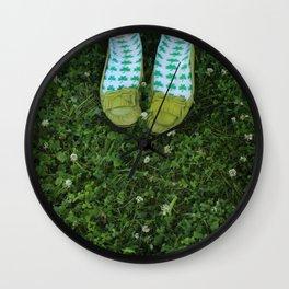 Shamrock Socks in a Green Clover Field Wall Clock