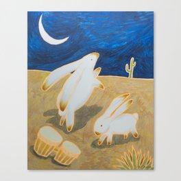 Bongo Bunnies Dancing in the Moonlight Canvas Print