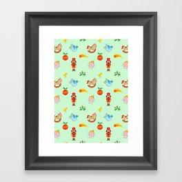 Nutcracker, rocking horse, angel and bird Christmas pattern Framed Art Print