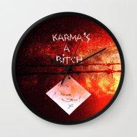 karma Wall Clocks featuring Karma by Veronica Ventress