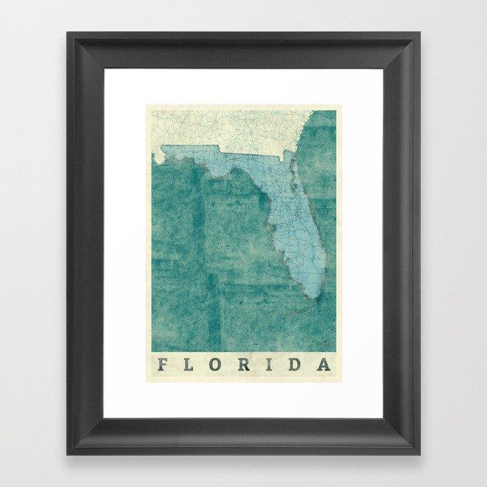 Florida State Map Blue Vintage Framed Art Print By Hubertroguski