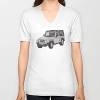 jeep V-neck T-shirts featuring Jeep Wrangler 2012 by Megan Yiu
