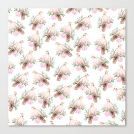 Hand painted modern pink brown watercolor peonies dove pattern Canvas Print